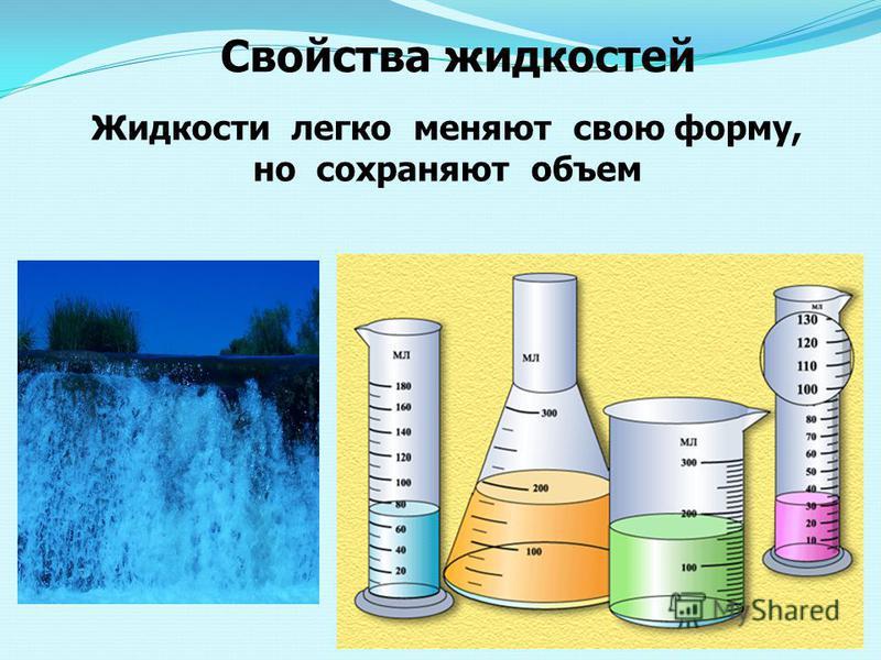 Свойства жидкостей Жидкости легко меняют свою форму, но сохраняют объем