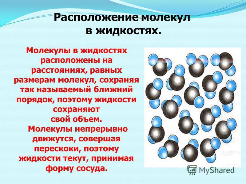 Расположение молекул в жидкостях. Молекулы в жидкостях расположены на расстояниях, равных размерам молекул, сохраняя так называемый ближний порядок, поэтому жидкости сохраняют свой объем. Молекулы непрерывно движутся, совершая перескоки, поэтому жидк