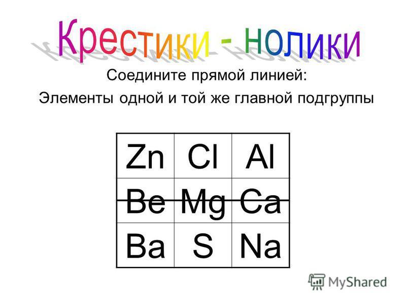 Соедините прямой линией: Элементы одной и той же главной подгруппы ZnClAl BeMgCa BaSNa