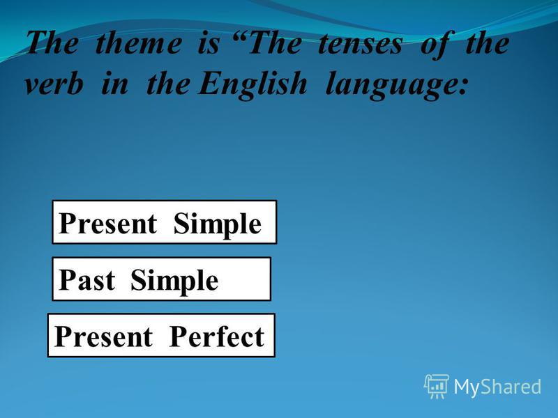 The theme is The tenses of the verb in the English language: Present Simple Past Simple Present Perfect