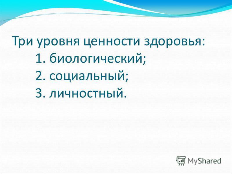 Три уровня ценности здоровья: 1. биологический; 2. социальный; 3. личностный.