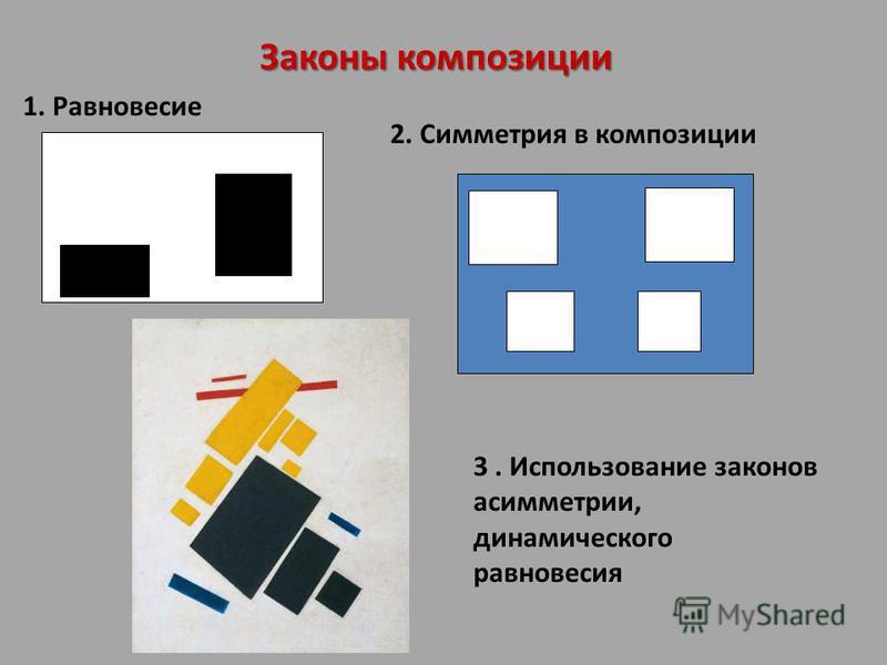 Законы композиции 3. Использование законов асимметрии, динамического равновесия 1. Равновесие 2. Симметрия в композиции