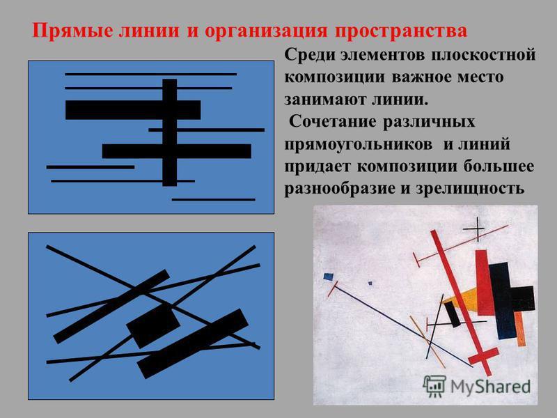 Прямые линии и организация пространства Среди элементов плоскостной композиции важное место занимают линии. Сочетание различных прямоугольников и линий придает композиции большее разнообразие и зрелищность