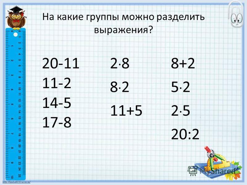 На какие группы можно разделить выражения? 2 · 8 8 · 2 11+5 8+2 5 · 2 2 · 5 20:2 20-11 11-2 14-5 17-8