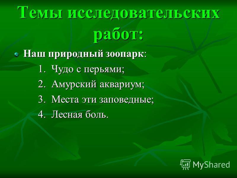 Темы исследовательских работ: Наш природный зоопарк: 1. Чудо с перьями; 2. Амурский аквариум; 3. Места эти заповедные; 4. Лесная боль.