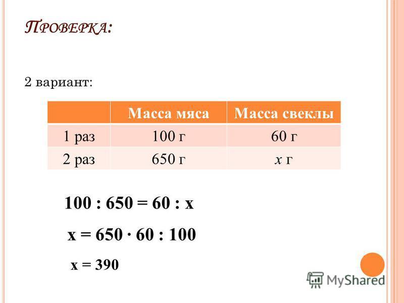 П РОВЕРКА : 2 вариант: Масса мяса Масса свеклы 1 раз 100 г 60 г 2 раз 650 гх г 100 : 650 = 60 : х х = 650 60 : 100 х = 390