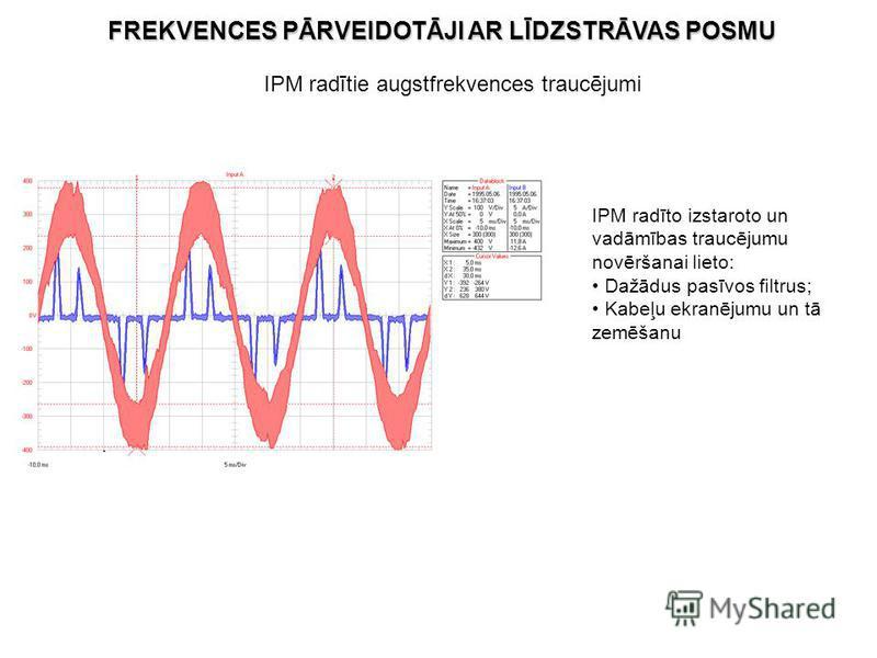 IPM radītie augstfrekvences traucējumi IPM radīto izstaroto un vadāmības traucējumu novēršanai lieto: Dažādus pasīvos filtrus; Kabeļu ekranējumu un tā zemēšanu FREKVENCES PĀRVEIDOTĀJI AR LĪDZSTRĀVAS POSMU