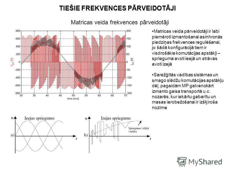 Matricas veida pārveidotāji ir labi piemēroti izmantošanai asinhronās piedziņas frekvences regulēšanai, jo šādā konfigurācijā tiem ir visdrošākie komutācijas apstākļi – sprieguma avoti ieejā un strāvas avoti izejā Sarežģītās vadības sistēmas un smago