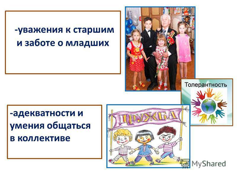 -уважения к старшим и заботе о младших -адекватности и умения общаться в коллективе