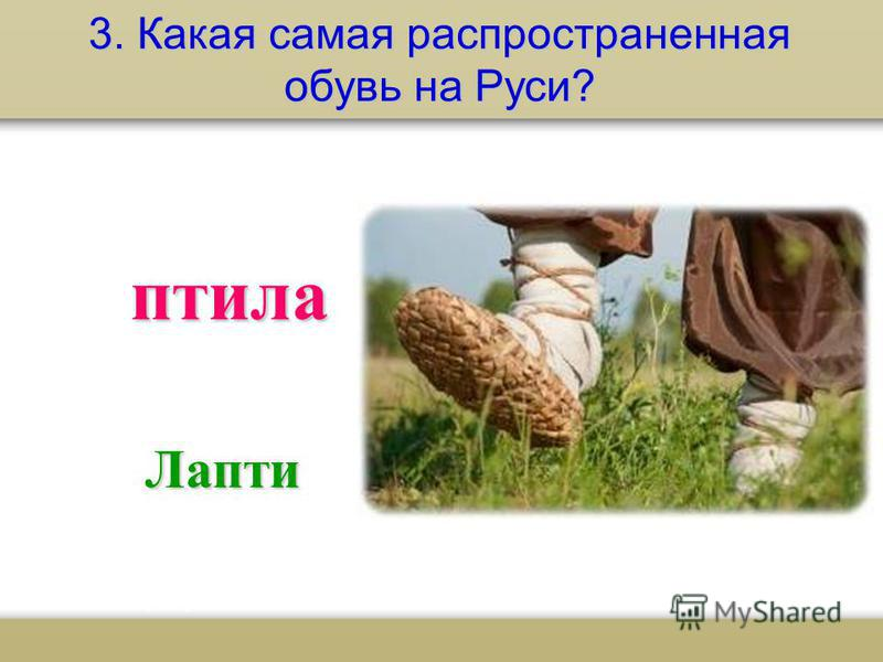 3. Какая самая распространенная обувь на Руси? плита Лапти