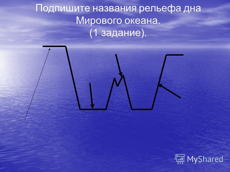 Подпишите названия рельефа дна Мирового океана. (1 задание).