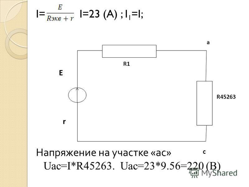 I= I=23 (A) ; I 1 =I; Напряжение на участке «ас» Uac=I*R45263. Uac=23*9.56=220 (B) R45263 E r R1 a c
