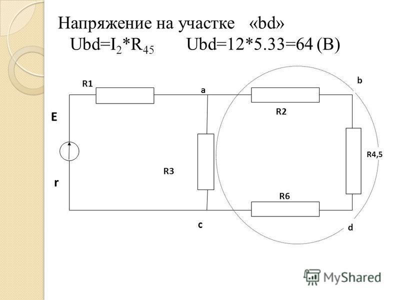 Напряжение на участке «bd» Ubd=I 2 *R 45 Ubd=12*5.33=64 (B) R4,5 R2 R1 R3 R6 a b d c E r