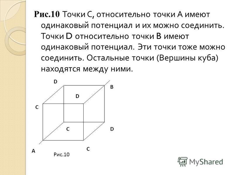 Рис.10 Точки С, относительно точки А имеют одинаковый потенциал и их можно соединить. Точки D относительно точки B имеют одинаковый потенциал. Эти точки тоже можно соединить. Остальные точки ( Вершины куба ) находятся между ними. D D A C C C B D Рис.