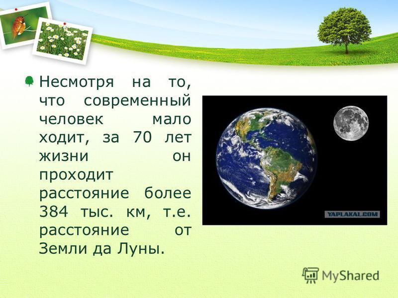 Несмотря на то, что современный человек мало ходит, за 70 лет жизни он проходит расстояние более 384 тыс. км, т.е. расстояние от Земли да Луны.
