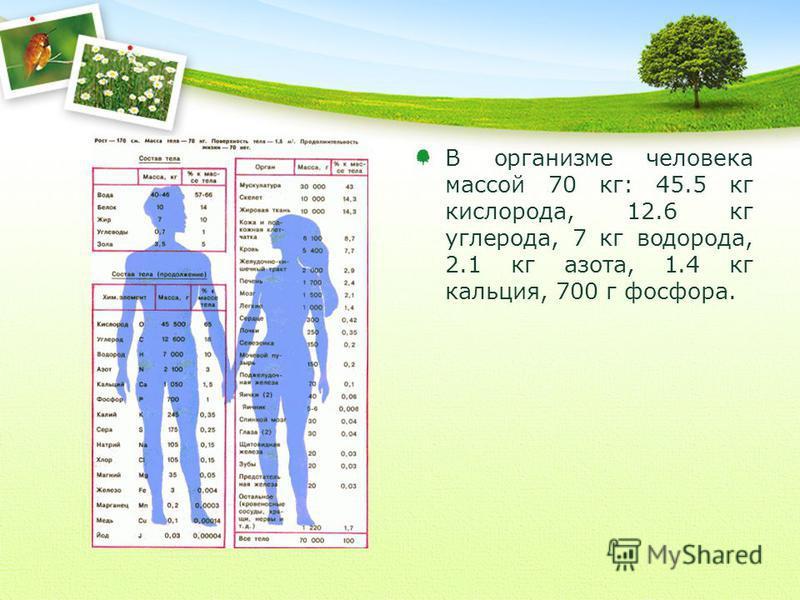В организме человека массой 70 кг: 45.5 кг кислорода, 12.6 кг углерода, 7 кг водорода, 2.1 кг азота, 1.4 кг кальция, 700 г фосфора.