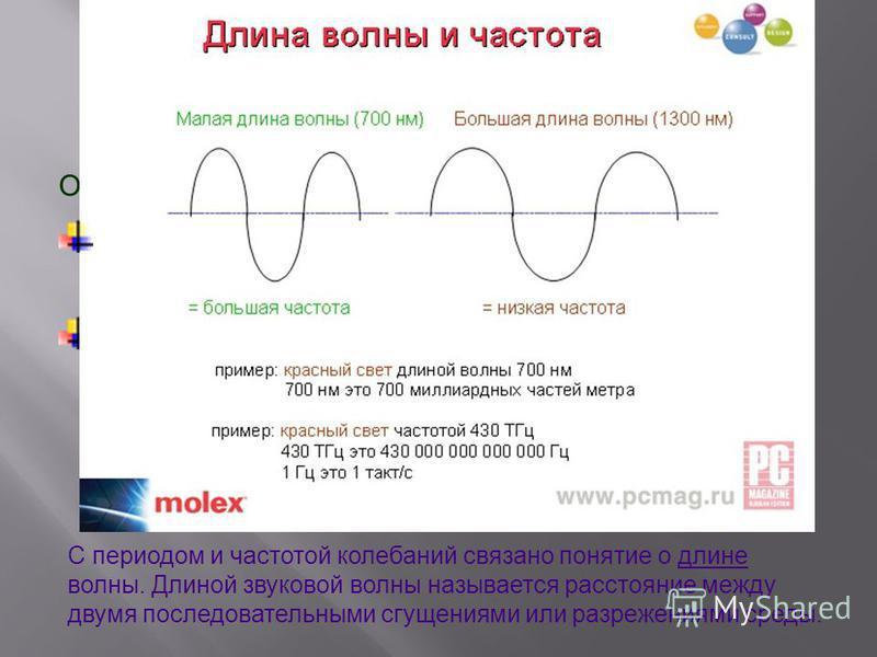 Основные физические характеристики звука: Частота колебаний – это число полных колебаний(периодов)за одну секунду. Период колебания – это время, в течение которого совершается одно полное колебание. С периодом и частотой колебаний связано понятие о д