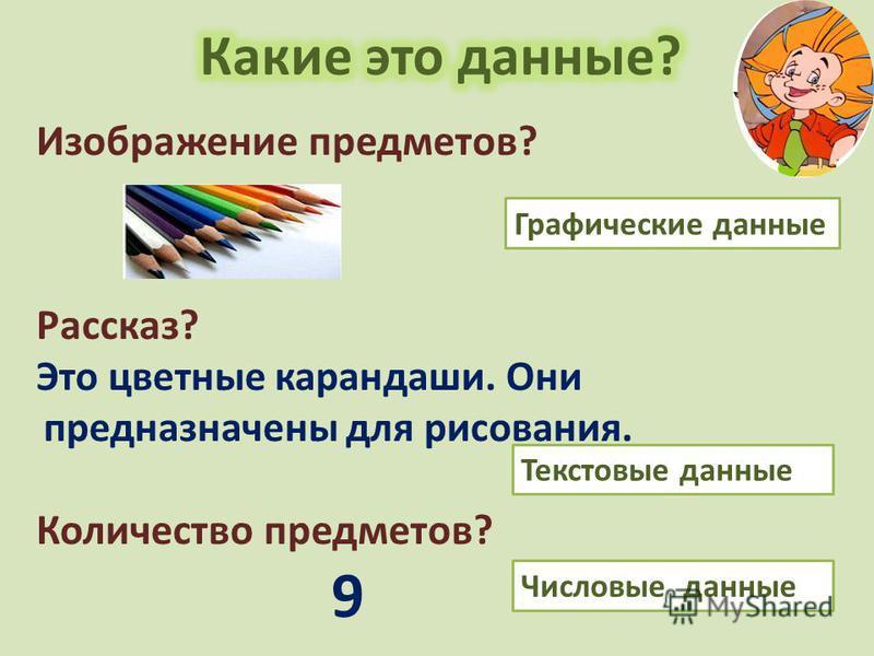 Изображение предметов? Рассказ? Это цветные карандаши. Они предназначены для рисования. Количество предметов? 9 Текстовые данные Графические данные Числовые данные
