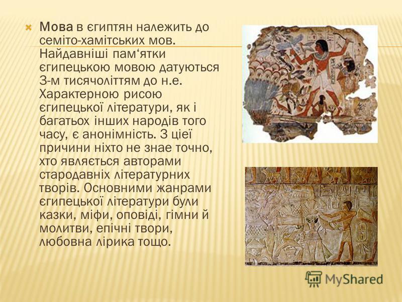 Мова в єгиптян належить до семіто-хамітських мов. Найдавніші памятки єгипецькою мовою датуються 3-м тисячоліттям до н.е. Характерною рисою єгипецької літератури, як і багатьох інших народів того часу, є анонімність. З ціеї причини ніхто не знае точно