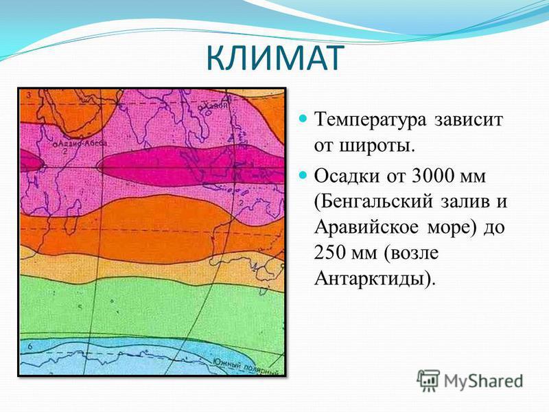КЛИМАТ Температура зависит от широты. Осадки от 3000 мм (Бенгальский залив и Аравийское море) до 250 мм (возле Антарктиды).