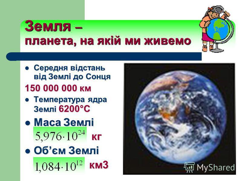 Земля – планета, на якій ми живемо Середня відстань від Землі до Сонця Середня відстань від Землі до Сонця 150 000 000 км Температура ядра Землі 6200°C Температура ядра Землі 6200°C Маса Землі Маса Землі кг кг Обєм Землі Обєм Землі км3 км3