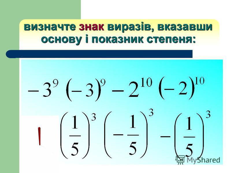 визначте знак виразів, вказавши основу і показник степеня: