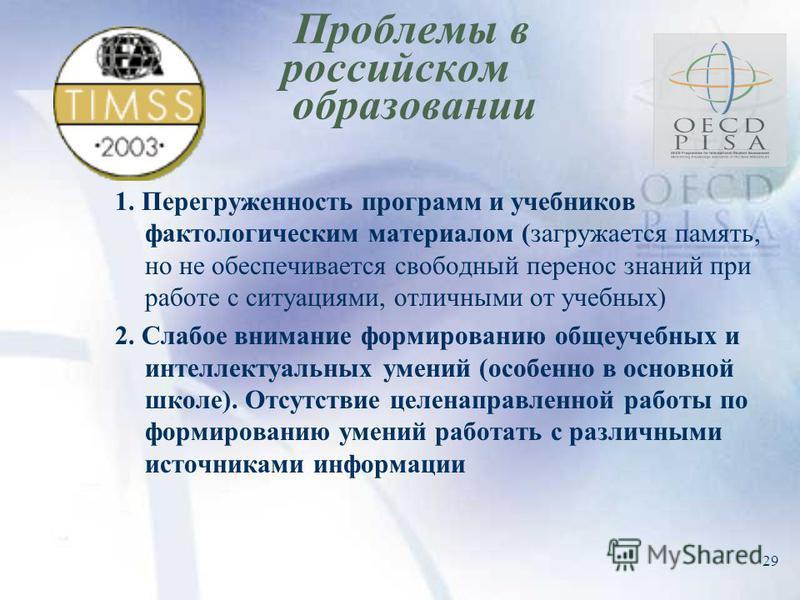 29 Проблемы в российском образовании 1. Перегруженность программ и учебников фактологическим материалом (загружается память, но не обеспечивается свободный перенос знаний при работе с ситуациями, отличными от учебных) 2. Слабое внимание формированию