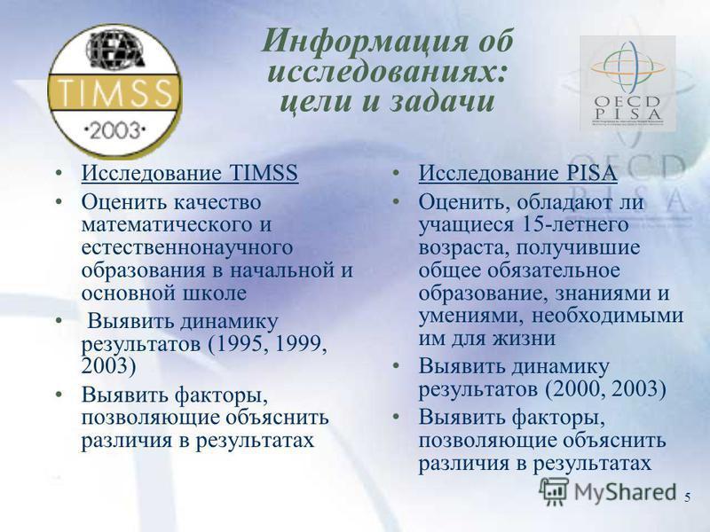 5 Информация об исследованиях: цели и задачи Исследование TIMSS Оценить качество математического и естественнонаучного образования в начальной и основной школе Выявить динамику результатов (1995, 1999, 2003) Выявить факторы, позволяющие объяснить раз