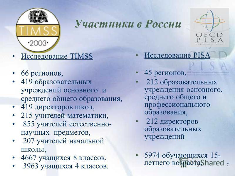 7 Участники в России Исследование TIMSS 66 регионов, 419 образовательных учреждений основного и среднего общего образования, 419 директоров школ, 215 учителей математики, 855 учителей естественно- научных предметов, 207 учителей начальной школы, 4667