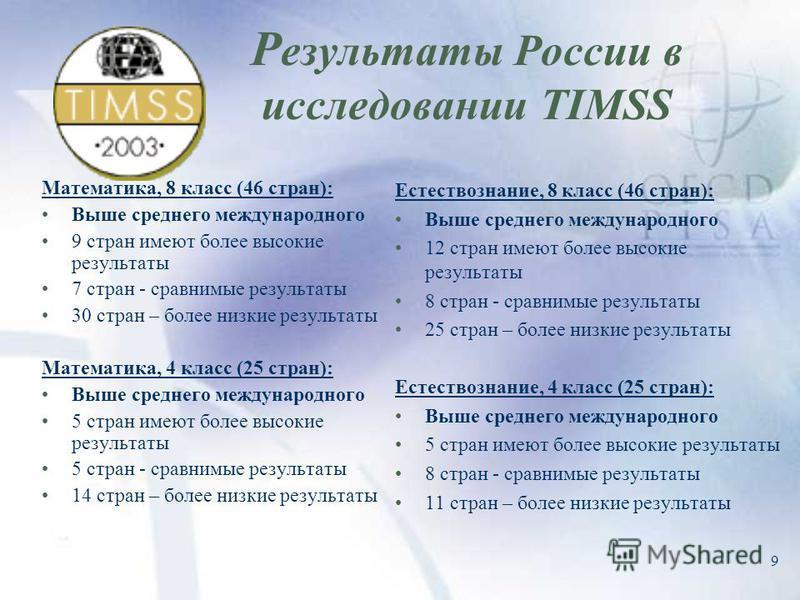 9 Р езультаты России в исследовании TIMSS Математика, 8 класс (46 стран): Выше среднего международного 9 стран имеют более высокие результаты 7 стран - сравнимые результаты 30 стран – более низкие результаты Математика, 4 класс (25 стран): Выше средн