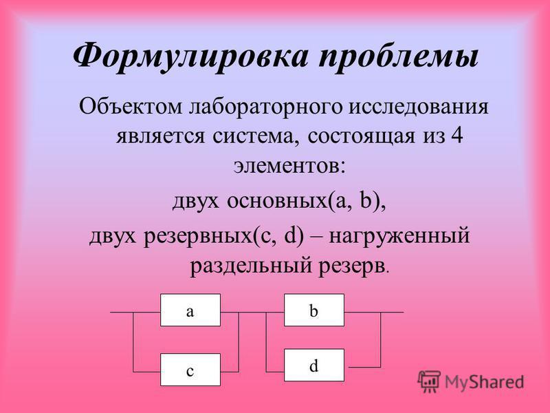 Формулировка проблемы Объектом лабораторного исследования является система, состоящая из 4 элементов: двух основных(a, b), двух резервных(c, d) – нагруженный раздельный резерв. а c b d