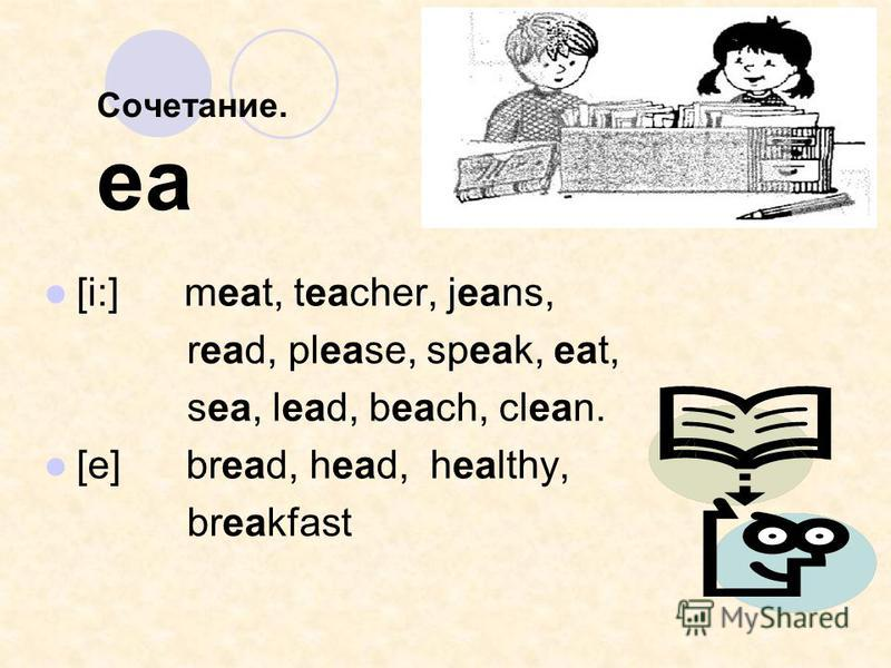 Сочетание. ea [i:] meat, teacher, jeans, read, please, speak, eat, sea, lead, beach, clean. [e] bread, head, healthy, breakfast
