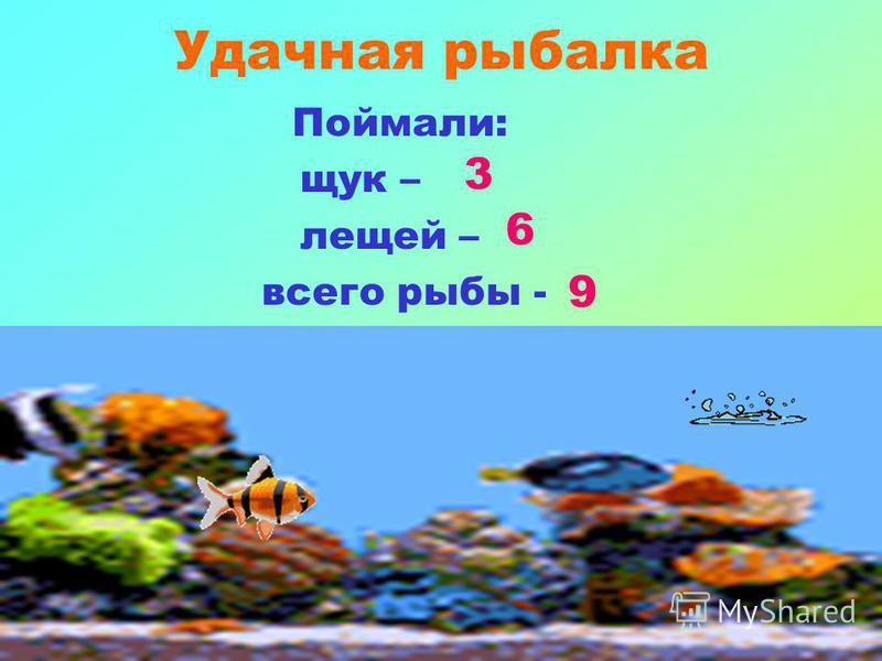 Удачная рыбалка Поймали: щук – лещей – всего рыбы - 3 9 6
