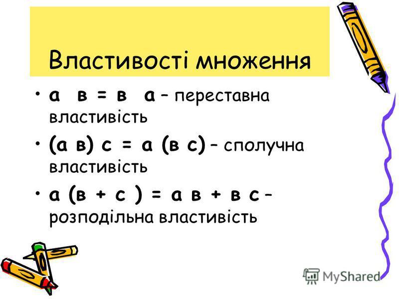 Властивості множення а в = в а – переставна властивість (а в) с = а (в с) – сполучна властивість а (в + с ) = а в + в с – розподільна властивість