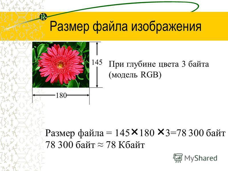 Размер файла изображения 180 145 При глубине цвета 3 байта (модель RGB) Размер файла = 145 180 3=78 300 байт 78 300 байт 78 Кбайт