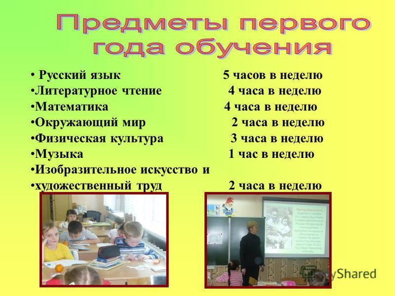 Русский язык 5 часов в неделю Литературное чтение 4 часа в неделю Математика 4 часа в неделю Окружающий мир 2 часа в неделю Физическая культура 3 часа в неделю Музыка 1 час в неделю Изобразительное искусство и художественный труд 2 часа в неделю