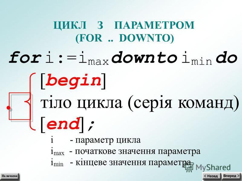 ЦИКЛ З ПАРАМЕТРОМ (FOR.. DOWNTO) for i:=i max downto i min do [ begin ] тіло цикла (серія команд) [ end ] ; i - параметр цикла i max - початкове значення параметра i min - кінцеве значення параметра