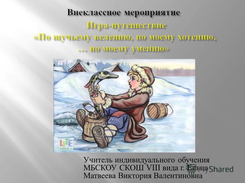 Учитель индивидуального обучения МБСКОУ СКОШ VIII вида г. Ельца Матвеева Виктория Валентиновна