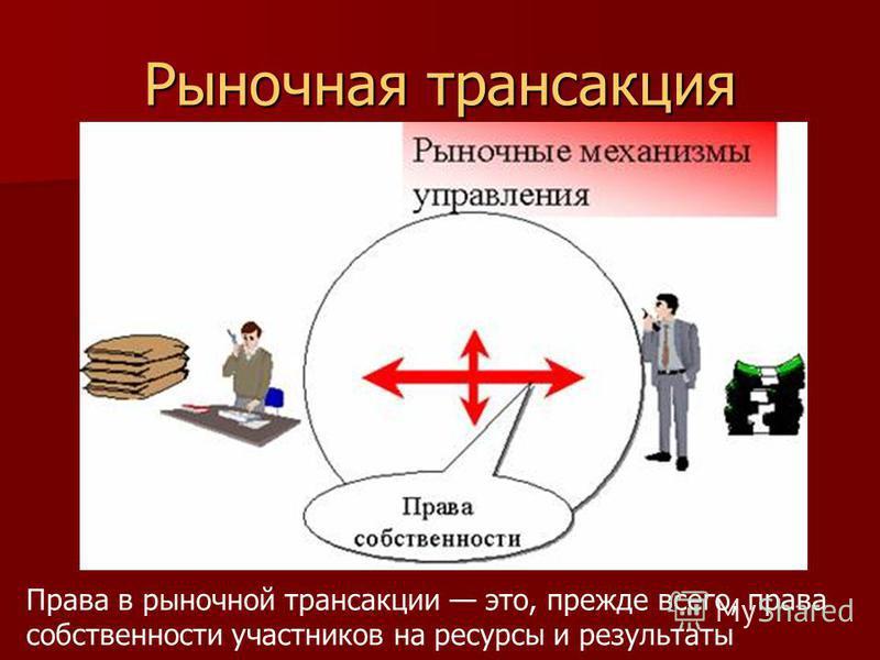 Рыночная трансакция Права в рыночной трансакции это, прежде всего, права собственности участников на ресурсы и результаты
