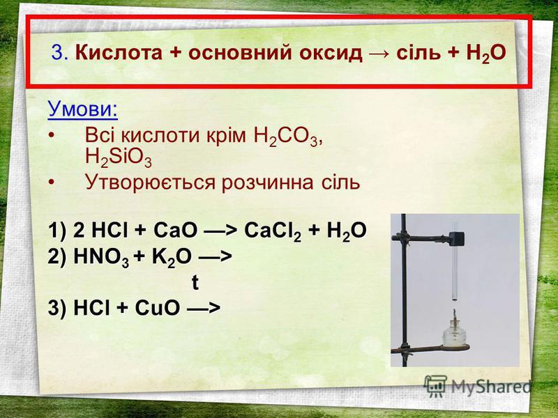 3. Кислота + основний оксид сіль + Н 2 О Умови: Всі кислоти крім H 2 CO 3, H 2 SiO 3 Утворюється розчинна сіль 1) 2HCl + CaO > CaCl 2 + H 2 O 1) 2 HCl + CaO > CaCl 2 + H 2 O 2) HNO 3 + K 2 O > t 3) HCl + CuO >