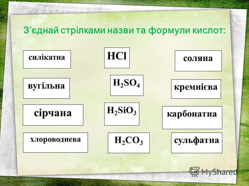 HCl H 2 CO 3 силікатна соляна H 2 SO 4 вугільна хлороводнева кремнієва сульфатна сірчана H 2 SiO 3 карбонатна Зєднай стрілками назви та формули кислот:
