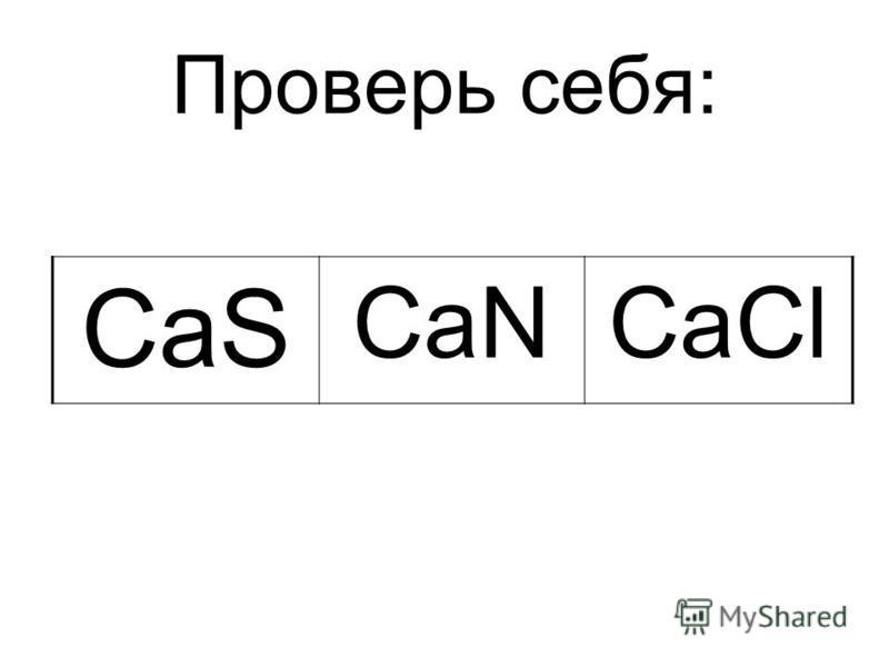 Проверь себя: CaS CaNCaCl