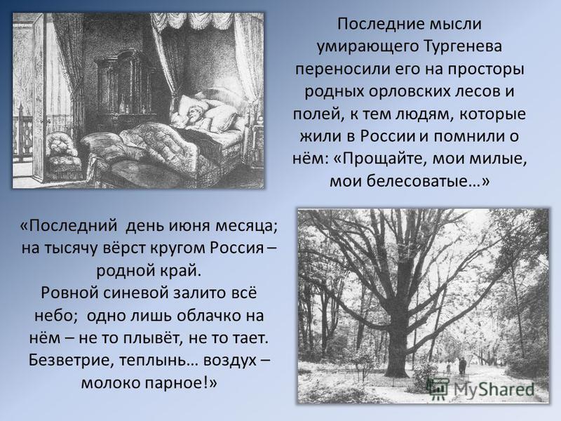 Последние мысли умирающего Тургенева переносили его на просторы родных орловских лесов и полей, к тем людям, которые жили в России и помнили о нём: «Прощайте, мои милые, мои белесоватые…» «Последний день июня месяца; на тысячу вёрст кругом Россия – р