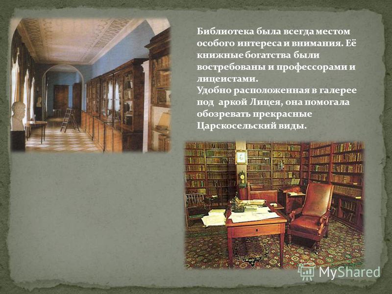 Библиотека была всегда местом особого интереса и внимания. Её книжные богатства были востребованы и профессорами и лицеистами. Удобно расположенная в галерее под аркой Лицея, она помогала обозревать прекрасные Царскосельский виды.