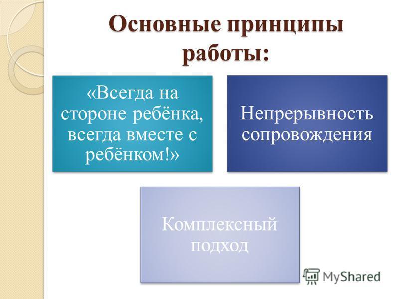 Основные принципы работы: «Всегда на стороне ребёнка, всегда вместе с ребёнком!» Непрерывность сопровождения Комплексный подход