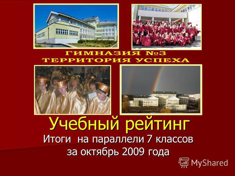 Учебный рейтинг Итоги на параллели 7 классов за октябрь 2009 года