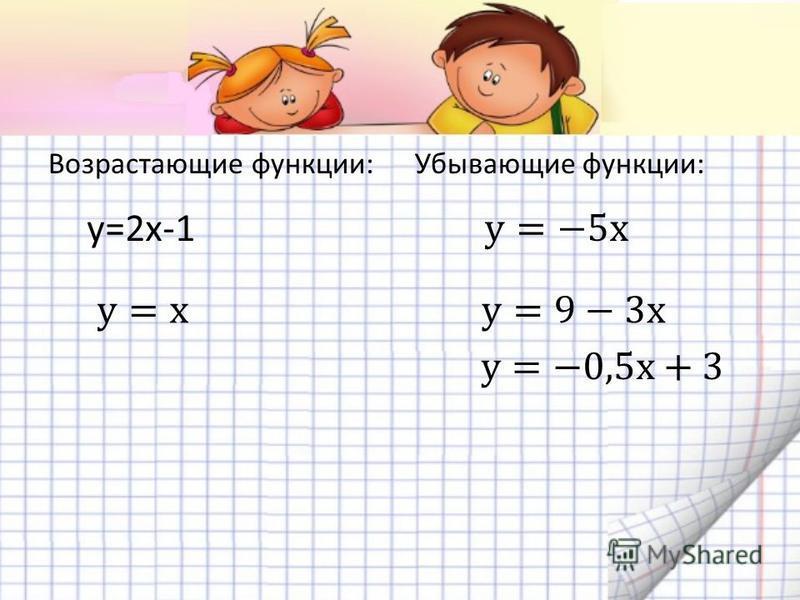 Возрастающие функции:Убывающие функции: у=2 х-1