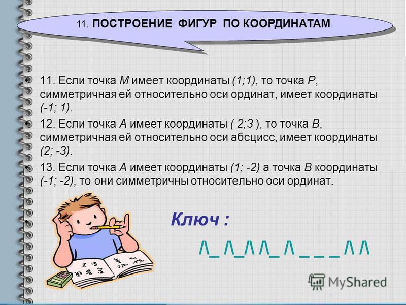 11. Если точка М имеет координаты (1;1), то точка Р, симметричная ей относительно оси ординат, имеет координаты (-1; 1). 12. Если точка А имеет координаты ( 2;3 ), то точка В, симметричная ей относительно оси абсцисс, имеет координаты (2; -3). 13. Ес