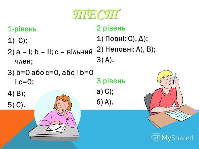 ТЕСТ 1-рівень 1) C); 2) а – І; b – II; c – вільний член; 3) b=0 або с=0, або і b=0 і c=0; 4) B); 5) C). 2 рівень 1) Повні: С), Д); 2) Неповні: А), В); 3) А). 3 рівень а) С); б) А).