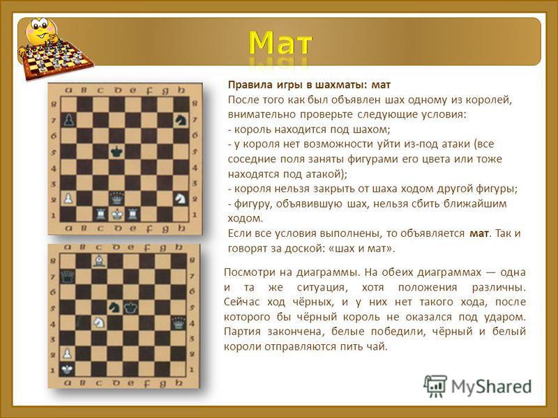 Правила игры в шахматы: мат После того как был объявлен шах одному из королей, внимательно проверьте следующие условия: - король находится под шахом; - у короля нет возможности уйти из-под атаки (все соседние поля заняты фигурами его цвета или тоже н